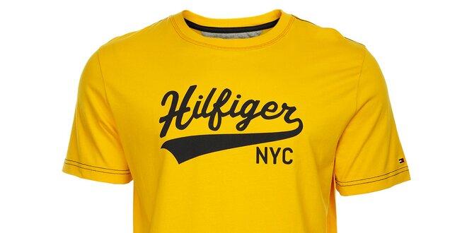 aad220cec2 Pánské žluté tričko Tommy Hilfiger s potiskem