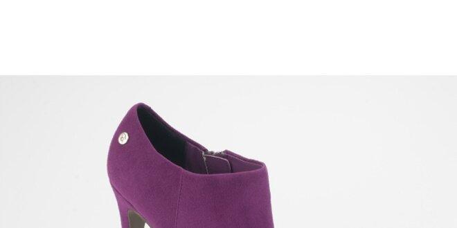 Dámské fialové semišové kotníkové boty na jehlovém podpatku Blink ... a950411430