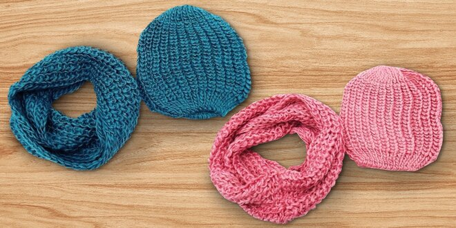 fc5925aee94 Pletená šála s čepicí do chladného počasí