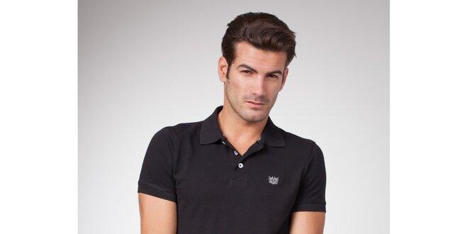 Pánské černé polo tričko s bílými knoflíky Bendorff