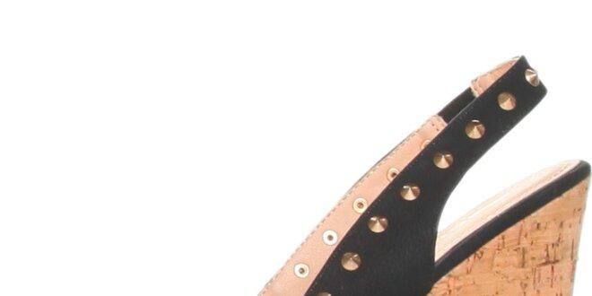 Dámské černé lodičky na korkovém klínu a platformě s cvočky GAS