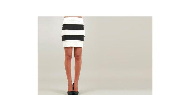 Dámská bílo-černá pouzdrová sukně Ginger Ale se širokými pruhy ... 416d14b68c