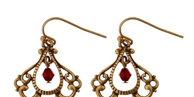 Dámské zlaté secesní náušnice Guess s červenými kamínky