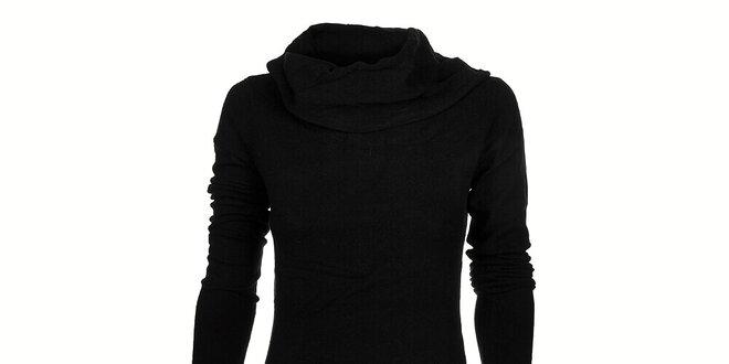 a4c9e34effa8 Dámské černé pletené šaty Timeout s velkým límcem