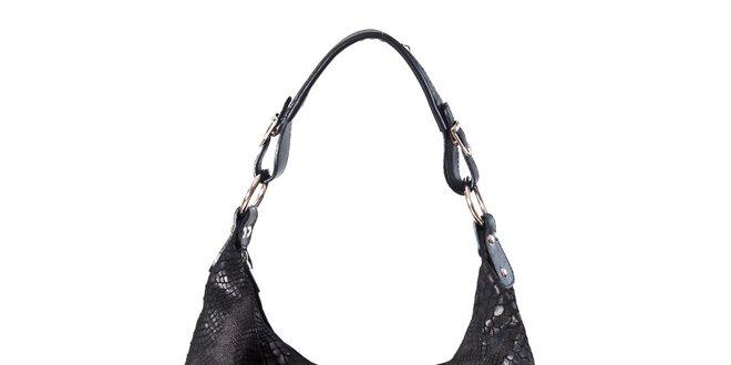 3d3c8dbebd Dámská černá kabelka s hadím vzorem a dvojitými zipy Luisa Vannini ...