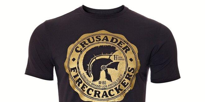 fdb0b0eeaeb Pánské tmavě šedé tričko Timeout se zlatým potiskem