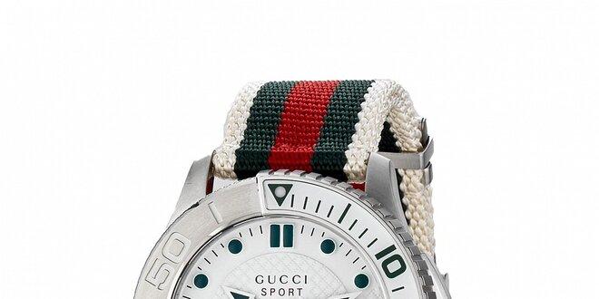 Luxusní pánské bílé hodinky Gucci s barevným páskem  0bddd492043