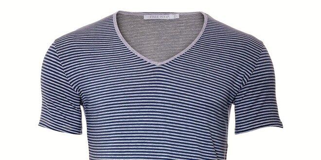 7b93771305c Pánské námořnické tričko Free Wave s modrým proužkem
