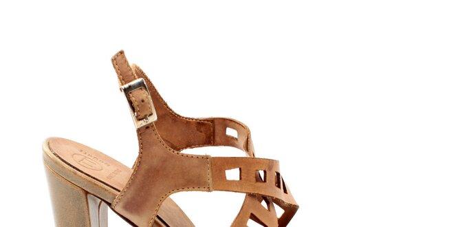 Dámské béžové ozdobně perforované sandálky na vysokém podpatku Bagatt 06697e45e0