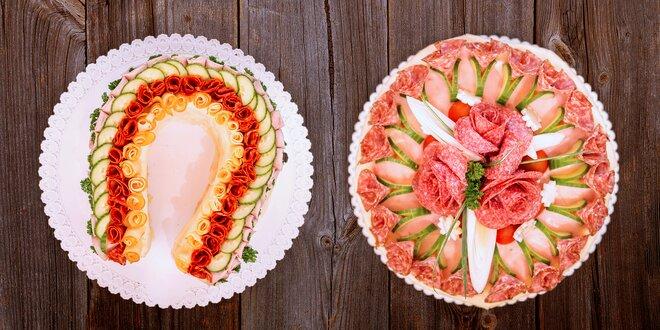 Slavnostní dorty ze šunky, sýru a zeleniny
