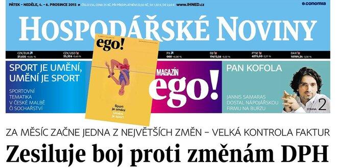 Předplatné pátečních Hospodářských novin a magazínu ego!