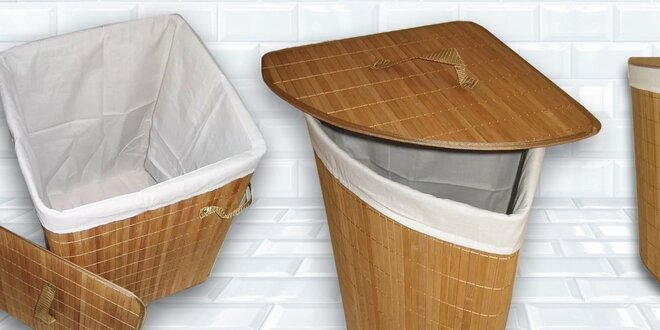 Koše na prádlo z bambusu - čtvercový nebo rohový Benco