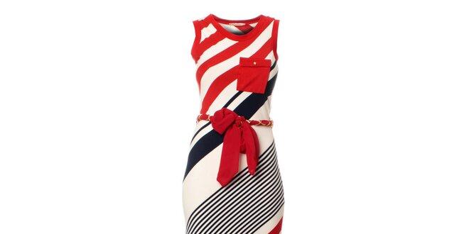 Dámské červeno-modro-bílé pruhované maxišaty s páskem Via Bellucci