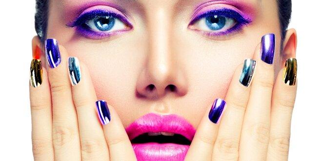 Gelové nehty zdobené pigmentem s kovovým efektem