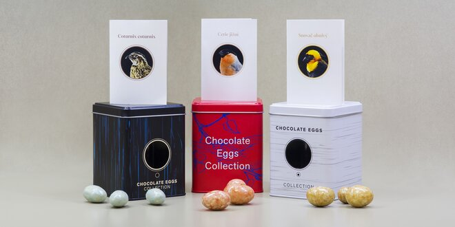 Čokoládová ptačí vejce v opravdové plechové budce