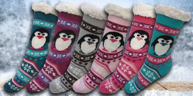 Hřejivé domácí ponožky s tučňákem  602cd7cd1d