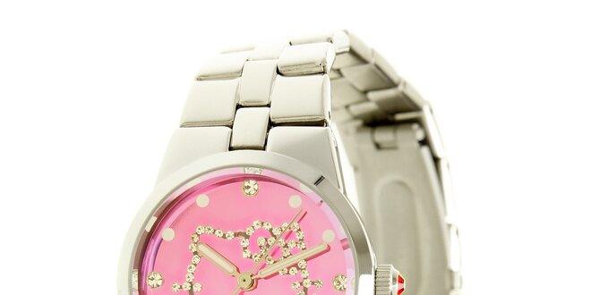 Stříbrno-růžové dívčí analogové ocelové hodinky se skleněnými krystaly  Hello… 1077ee71733