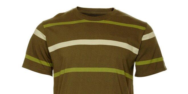 Pánské olivové tričko Hannah s proužky