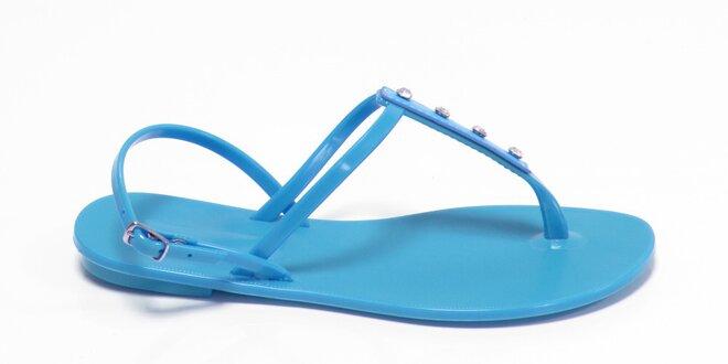 Dámské azurově modré sandály Favolla s kamínky