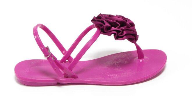 Dámské fuchsiové sandály Favolla s růžičkou