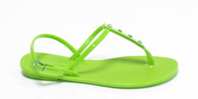 Dámské limetkové sandály Favolla s kamínky