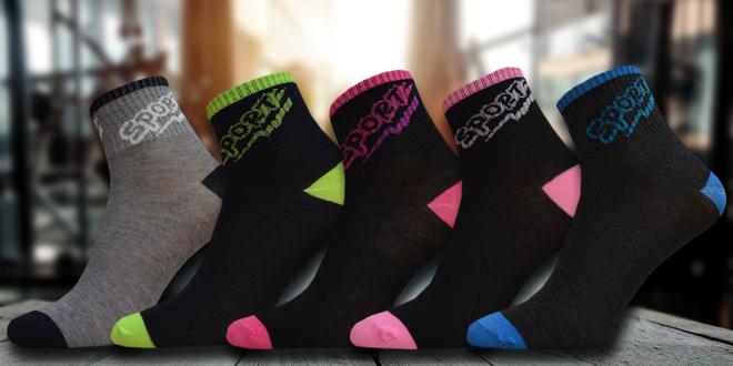 5 párů sportovních dámských ponožek