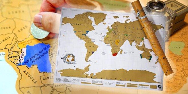 Stírací mapa světa Premium