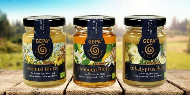 Dárkové balení tří bio medů v dozách po 125 g