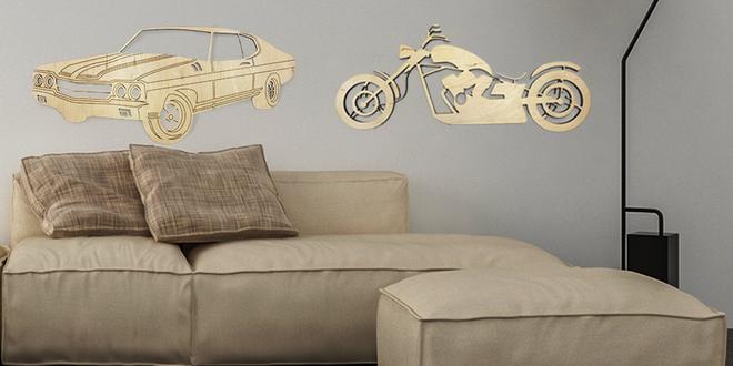 Dřevěné obrazy aut, motorek a bicyklů