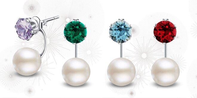 Ocelové náušnice s perlou a krystaly Swarovski