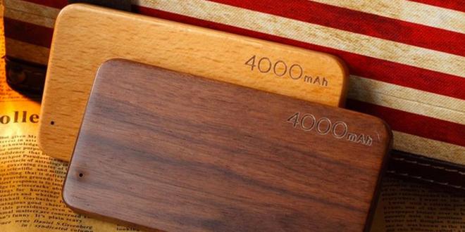 Dřevěná Powerbanka s kapacitou 4000 mAh