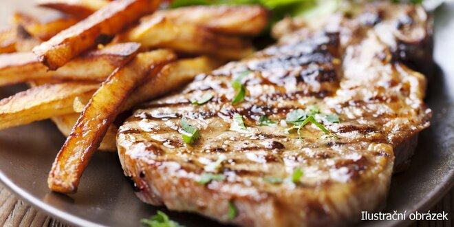 Flambované steaky z krkovičky nebo kuřecího pro 2