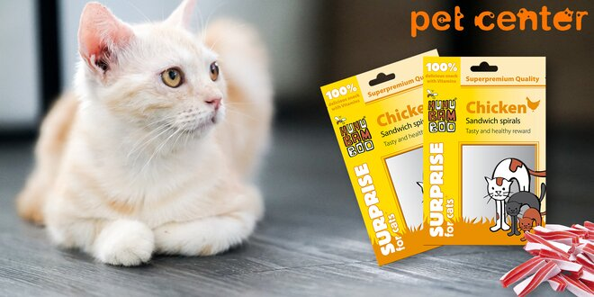 2x kuřecí spirály Huhubamboo pro kočičky