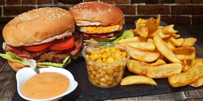 2x burger s masíčkem od řezníka, hranolky a kukuřicí