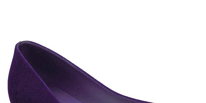 5d8aea8dc6c Dámské fialové baleríny Malissa s otevřenu špičkou a semišovou úpravou