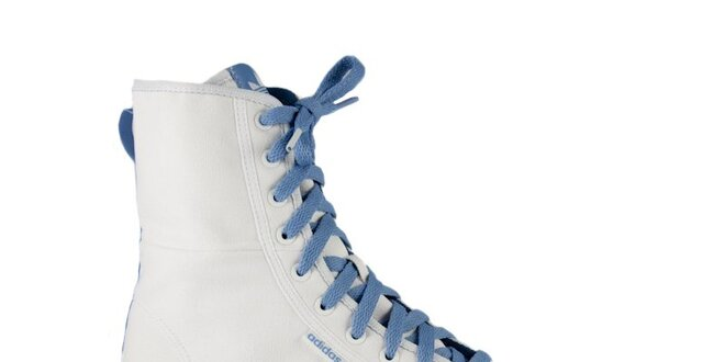 Dámské bílé vysoké kotníkové tenisky Adidas s modrými detaily ... 8164c5ec43