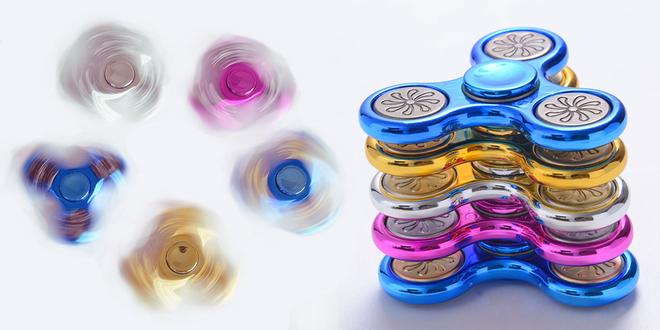 Metalicky lesklý Fidget Spinner Delux