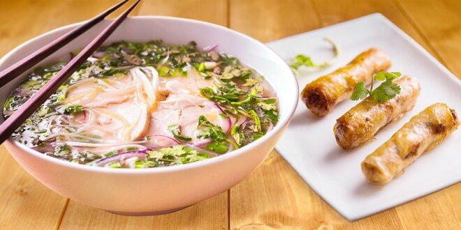 Tradiční vietnamská polévka a tři jarní závitky