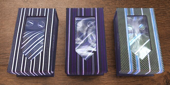 Elegantní sada: kravata, manžety, kapesníček