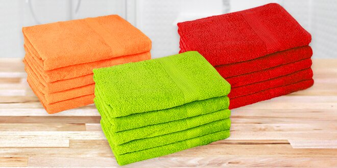 Osuška a ručník v různých barvách do koupelny
