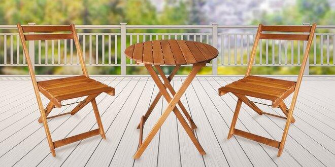 Balkonový set dřevěného stolu a 2 židlí z akácie
