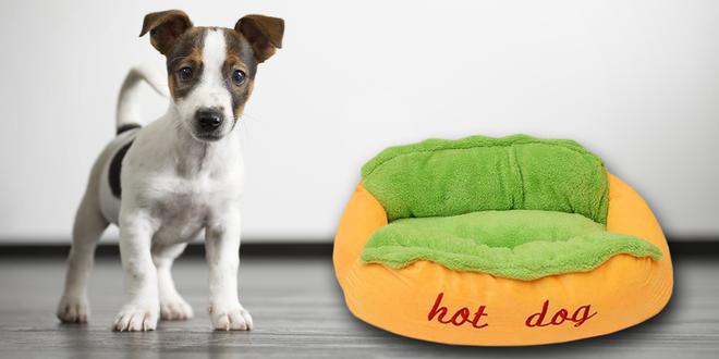 Měkoučký psí pelíšek ve tvaru hot dogu