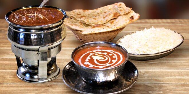 Indická večeře s 5 druhy hlavního jídla na výběr