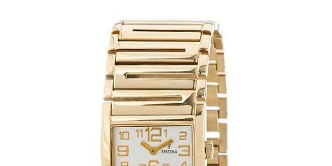 Dámské zlaté náramkové hodinky Festina se zlatými indexy  78f3e06ff02