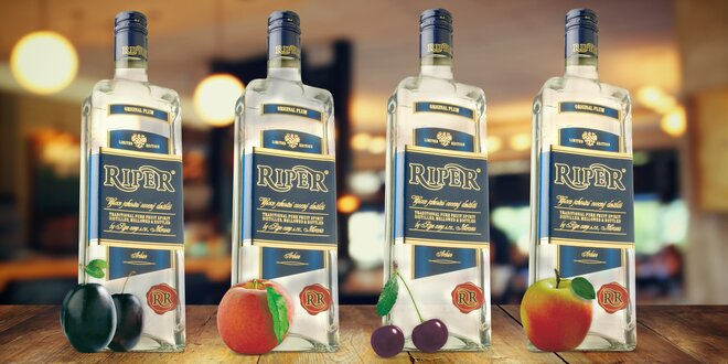 Dvě láhve lahodného ovocného destilátu Riper