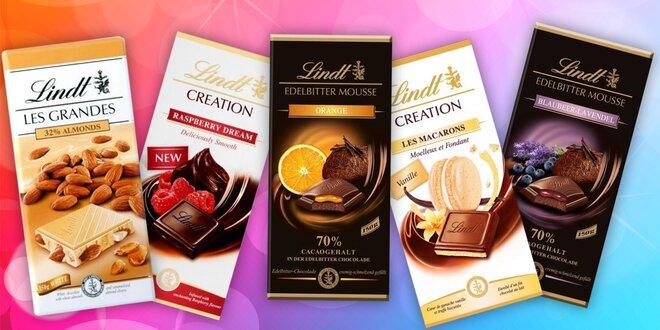 Švýcarské čokolády Lindt v mnoha příchutích