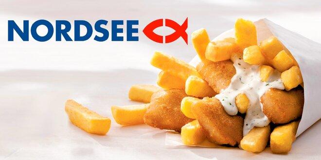 2x fish & chips s sebou z restaurace NORDSEE