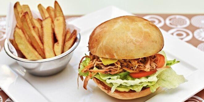 Burgerové menu dle výběru se salátem a dezertem