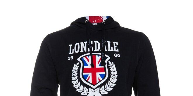 06f0dc97254 Pánská černá mikina Lonsdale s bílým potiskem a anglickou vlajkou ...