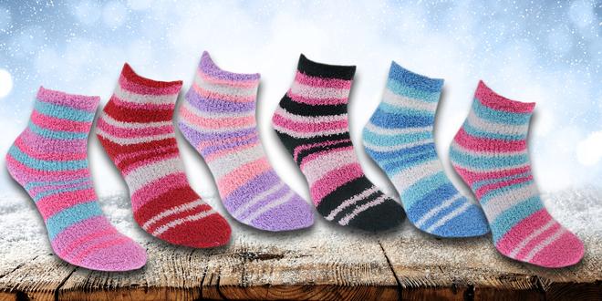12 párů chlupatých pruhovaných ponožek
